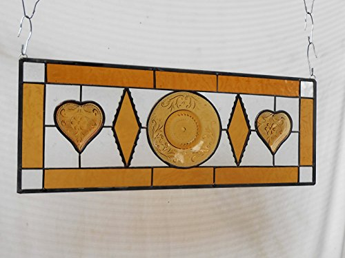 Stained Glass Transom Window, Sandwich Glass Stained Glass Plate Panel with Vintage Tiara Heart and Antique Dishes, Unique Window Valance