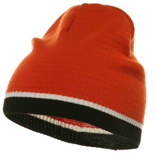 (Tri Color Short Beanie-Orange Black)
