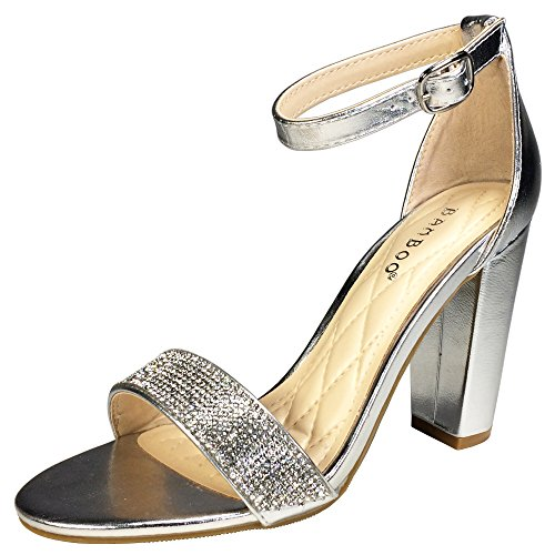 Rampage Open Toe Heels - Bamboo Women's Single Band Chunky Heel Sandal with Ankle Strap, Silver PU with Rhinestones, 8.5 B US