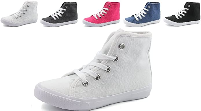Kids Unisex Canvas High Hi Top Sneakers Pitter Patter Classic Infant to Big Kid