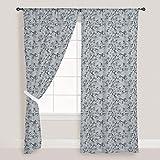 AZ Hand-Drawn Waves Door & Window Curtain Satin 4feet x 7feet; SET OF 3 PCS