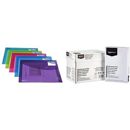 Rapesco documentos - Carpeta portafolios A4+ con soporte para tarjeta, colores traslúcidos. 5 unidades & AmazonBasics Papel multiusos para impresora ...