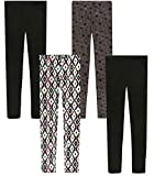 Only Girls Ultra Comfortable Soft-Touch Printed Yummy Leggings (4-Pack), Aztec/Stars, Size 12\''
