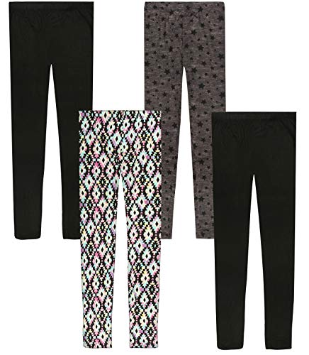 Only Girls Ultra Comfortable Soft-Touch Printed Yummy Leggings (4-Pack), Aztec/Stars, Size 7' (Patterned Girls Pants Ski)
