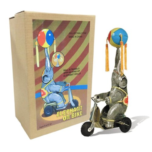 Off the Wall Toys Vintage Style Elephant On Bike -