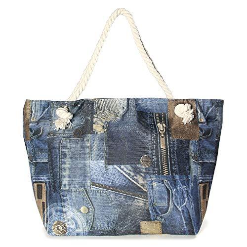 Auliné Collection Womens Fashion Casual Travel Beach Shoulder Tote Bag Handbag - Jean ()