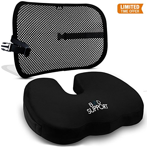 - Back Support Seat Cushion Set - Memory Foam With Orthopedic Design To Relieve Coccyx, Sciatica And Tailbone Pain From Prolonged Sitting In The Car, Office Or Kitchen Chairs - Mesh Breathable Material