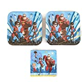 Disney Incredibles 2 Party Bundle 9'' Plates (16) Napkins (16)