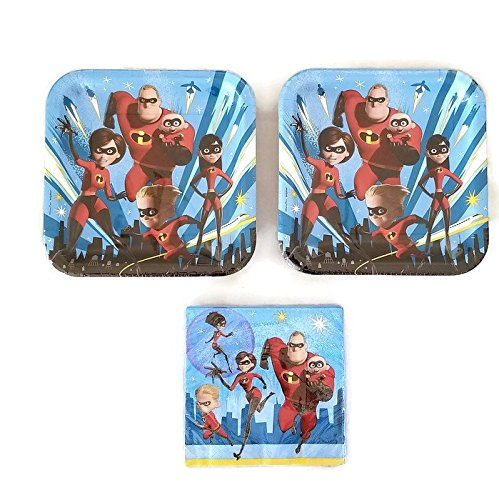 Disney Incredibles 2 Party Bundle 9'' Plates (16) Napkins (16) by Designware