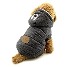 Ranphy Dog Fleece Jacket with Hood Winter Cotton Coat Puppy Clothes Grey S