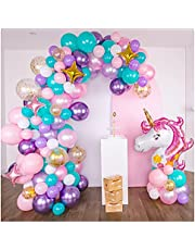 Shimmer and Confetti Premium 16-foot DIY Unicorn Balloon Arch and Garland Kit with Giant Unicorn, Stars, Metallic, Pearl Balloons, Confetti. Unicorn Party Supplies and Decorations for Girls Birthdays