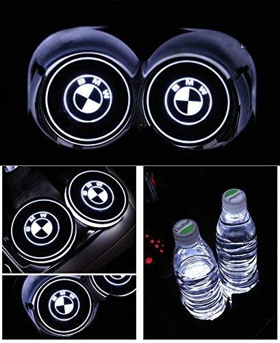 2pcs LED Car Logo Cup Holder Pads 7 Colors Changing USB Charging Mats Bottle Coasters Car Atmosphere Lamps for Chevrolet