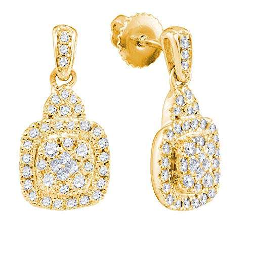 Jewels By Lux 14kt Yellow Gold Womens Princess Round Diamond Soleil Square Dangle Earrings 1/2 Cttw In Pave Setting (I1-I2 clarity; H-I color)
