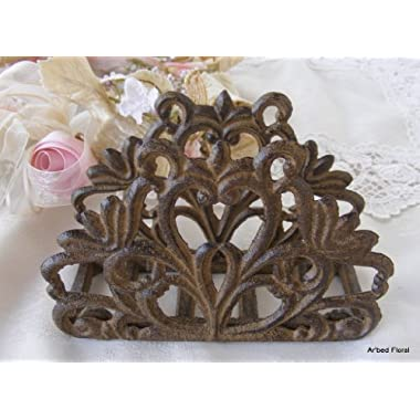 Scroll Cast Iron Napkin Holder ~ Letter ~ Rustic Brown