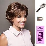 Sandie by Noriko, Wig Galaxy Hair Loss Booklet, Wig Cap, & Loop Brush (Bundle - 4 Items), Color Chosen: Ginger Highlight