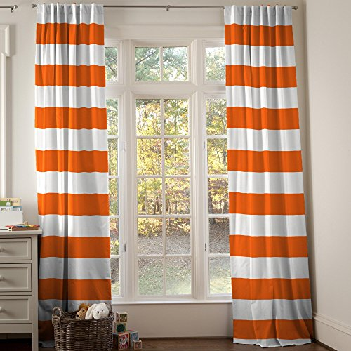 Carousel Designs Orange Horizontal Stripe Drape Panel 96-Inch Length Standard Lining 42-Inch Width by Carousel Designs