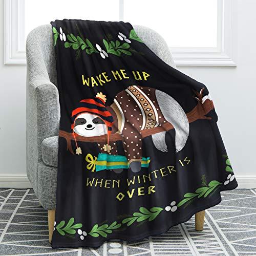 Jekeno Sloth Print Throw Blanket Smooth and Soft Blanket Kid...