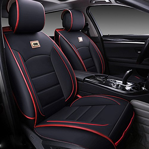 11Pcs Deluxe PU Leather Auto Car Seat Covers Cushions Front Rear Universal fit for Vehicles,Cars,SUV Elastic Sponge Inside Size L (Black & Red)