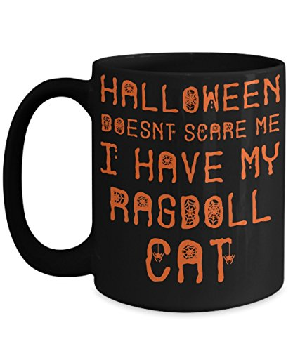 Halloween Ragdoll Cat Mug - White 11oz Ceramic Tea Coffee Cup - Perfect For Travel And Gifts -