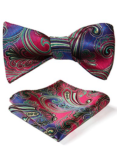 - BIYINI Men's Paisley Floral Jacquard Woven Party Self Bow Tie Set Red / Green