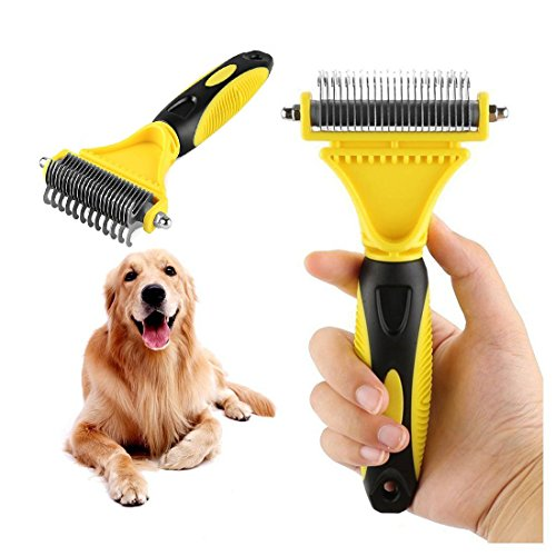 Goldsen Pet Dematting Comb, 2 Sided Undercoat Rake for Cats&Dogs Pet Grooming Tool Removes Undercoat Mats for Small Medium and Large Breeds with Medium and Long Hair for Pet Brush Tool (Yellow) by Goldsen