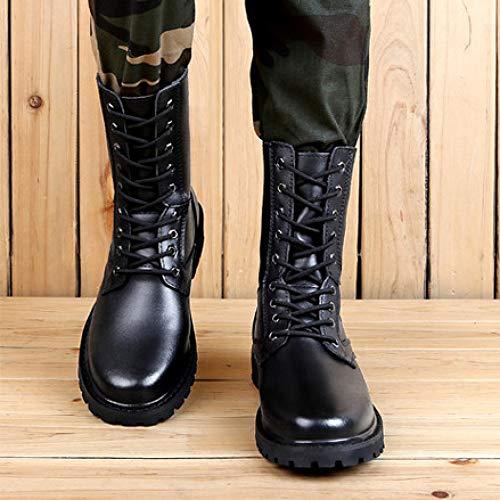 Outdoor Stivali High Pattuglia Durevole Militari Black Combattimento Trekking Tattiche Top Sicurezza Pelle Stivali Scarpe Da Desert Lacci Polizia Uomo Con In Army Da Da XqXwPr8