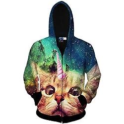 Unisex Animal Zip Up Hoodie All Over Print Jacket Sweatshirt For Men & Women (Cat C, Large/X-Large)