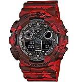 Casio - GA-100CM-4AER - G-Shock - Montre Homme - Quartz Analogique - Digital - Cadran Gris - Bracelet Résine Rouge