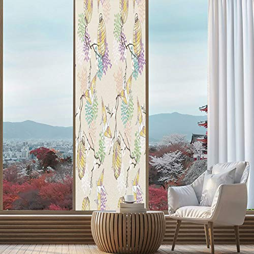 YOLIYANA The Visual Effect of Textured Glass and Stained Glass,Lantern,is Good for Long Year Under The Sunshine,Colorful Origami Cranes Paper Lanterns with Branches and,24''x78''