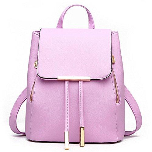 WINK KANGAROO Fashion Shoulder Bag Rucksack PU Leather Women Girls Ladies Backpack Travel bag (purple) by WINK KANGAROO