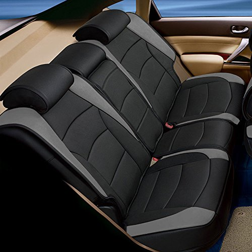 FH Group PU205013 Ultra Comfort Leatherette Seat Cushions (Split Bench), Gray/Black Color - Fit Most Car, Truck, SUV, or Van ()