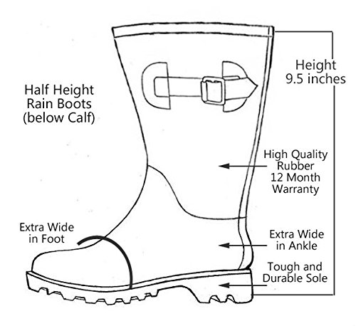 Jileon Half Height Rain Boots for Women - Wide in The Foot and Ankle - Durable All Weather Boots B074VF7PZ9 9 E (US)|Blue