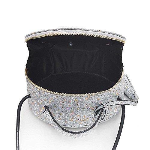 Bandoulière Zipper Brillant Sac Main Femmes Paillettes Argent Bag Party Messenger Fille épaule Rond à La Cabina Crossbody À Sac Sac PU pour Portés W5nFYqIq