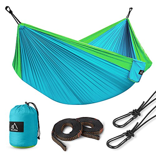 Terra Hiker Hammock, Nylon Lightweight Hammock, Portable Hammock, Straps, Carabiners Included, for Backpacking, Camping, Travelling, Beach