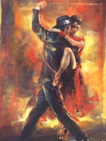 Real Hand Painted Lover Tango Dance Canvas Oil Painting for Home Wall Art Decoration, Not a Print/ Giclee/ Poster, FRAMED, READY TO HANG