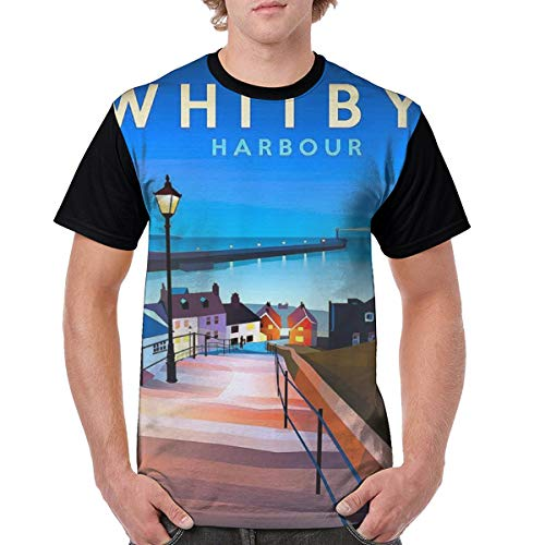 - Men's Whitby Harbour Vintage Travel Poster Novelty Casual Tshirt 3D Printed Crewneck Graphic Tees Unisex Black
