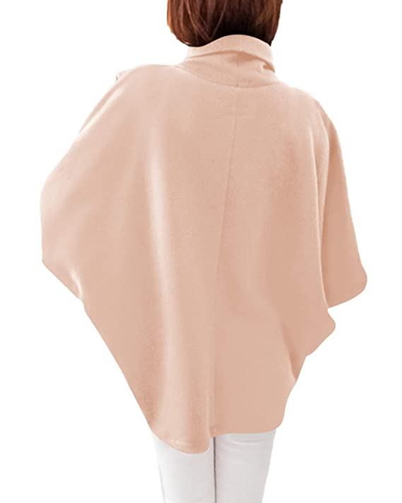 YOINS Outwear Capes Turtleneck Poncho for Women Chimney Collar Flared 3//4 Sleeves Irregular Hem Pullover Sweaters