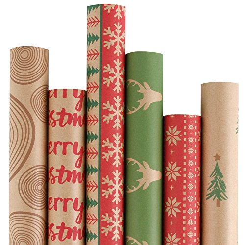 RUSPEPA Christmas Gift Wrapping Paper - Brown Kraft Paper with Red and Green Pattern for Gift-Christmas Elements Collection-6 Roll-30Inch X 10Feet Per - Square Mountain Shower