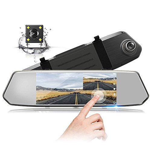 TOGUARD Backup Camera 7' Mirror Dash Cam Touch Screen 1080P Rearview Front and Rear Dual Lens with...