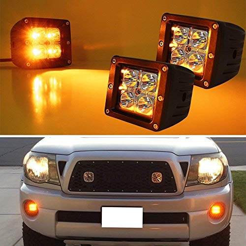 iJDMTOY (2) 3-Inch Cubic 20W CREE LED Pod Lights For Truck Jeep Off-Road ATV 4WD 4x4, Amber Yellow (Light Auxiliary Mini Strobe)