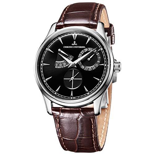 Chrono universal automatisk armbandsur, stål, läderarmband, safirglas