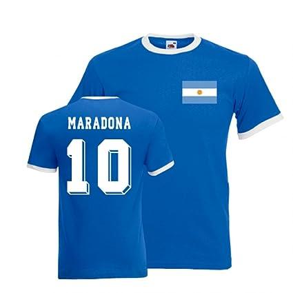 Gildan Diego Maradona Argentina Ringer Tee (blue)