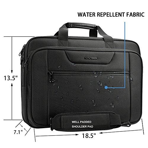 KROSER 18.5'' Laptop Bag Laptop Briefcase Fits Up To 18 Inch Laptop Water-Repellent Computer Bag Shoulder Bag Expandable Extra Large Capacity For Travel/Business/School/Men-Black by KROSER (Image #2)