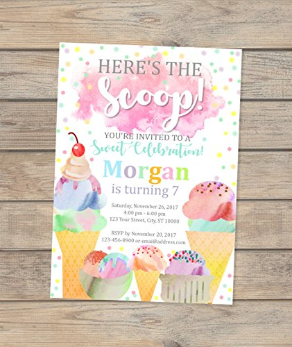Amazon Com Ice Cream Party Invitations Watercolor Ice Cream Bash