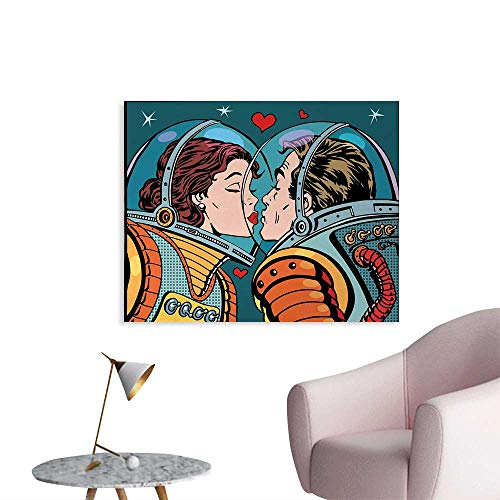 Tudouhoho Love The Office Poster Space Man and Woman Valentines Kissing Science Cosmos Couple Pop Art Design Print Wall Sticker Decals Multicolor W32 xL24 ()