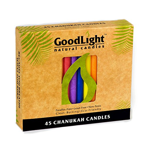 Chanukah Multi Color Candle - GoodLight Paraffin-free Chanukah Hannukah Hanukkah Candles (Multicolor)