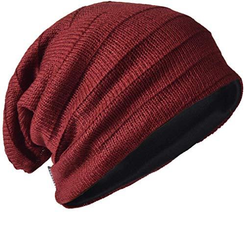 (Vintage Men Baggy Beanie Slouchy Knit Skull Cap Hat (Claret))