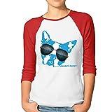 Women's Puppy Sunglass 3/4 Sleeve Raglan Basball T Shirt M Red