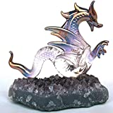 Dragon Serpent Figurine of Hand Blown Glass on Amethyst Crystals