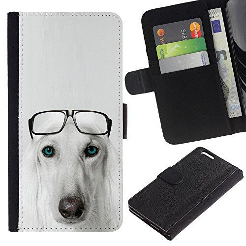 EuroCase - Apple Iphone 6 PLUS 5.5 - Saluki Hound dog breed glasses Persian - Cuero PU Delgado caso cubierta Shell Armor Funda Case Cover
